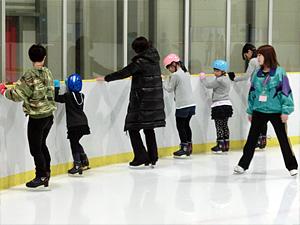 ゆっくりとスケートリンクへ