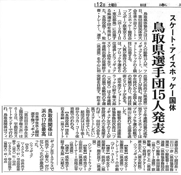2013年1月12日 日本海新聞