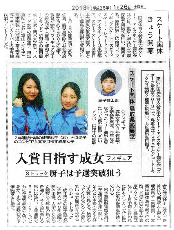 2013年1月26日 日本海新聞