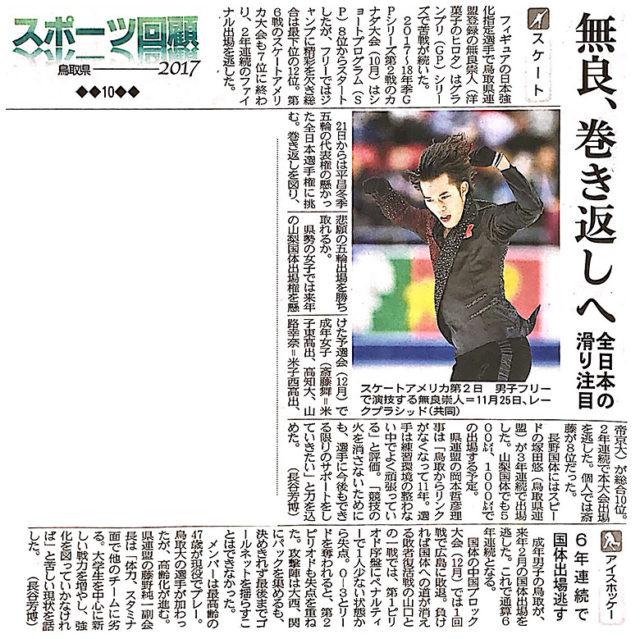 2017年12月19日 日本海新聞「スポーツ回顧 鳥取県 2017」