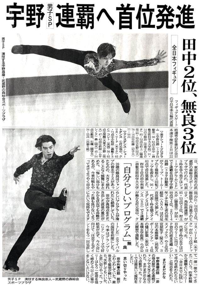 無良崇人選手 SP3位 / 第86回 全日本ファギュアスケート選手権大会