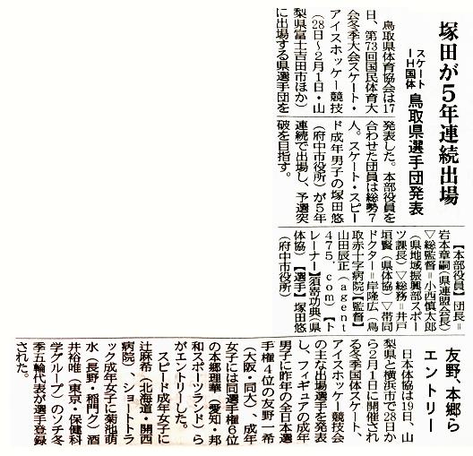 第73回国民体育大会冬季大会 鳥取県選手団発表